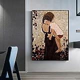 Arte de Gustav Klimt Madre e hijo Niños Madre Amor Lienzo Pintura Arte de la pared Póster Impresiones Dormitorio Sala de estar Estudio Oficina Decoración para el hogar Mural
