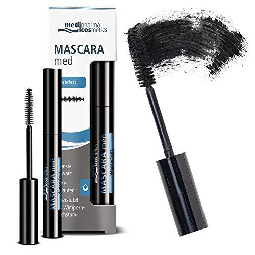 Medipharma Cosmetics Waterproof Mascara Black - Smudge Proof Paraben Free Voluminous Mascara for Eyelashes, Good for Sensitive Eyes and Eyelash Growth - Best Natural Eye Makeup