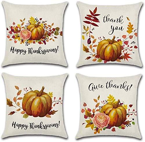 Conjunto de giyiohok de 4 Cubiertas de Cojines Decorativos para sofá Cama - 45 x 45 cm - Patrón de Hojas Tropicales - algodón y Lin-Calabaza de otoño 5