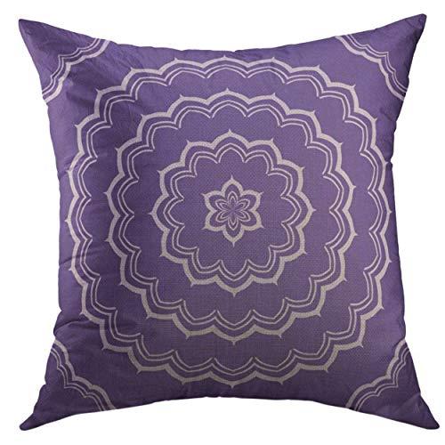 Funda de almohada decorativa para sofá, cama, decoración del hogar, colorido ultra violeta mandala patrón púrpura hw:45,72 x 45,72 cm