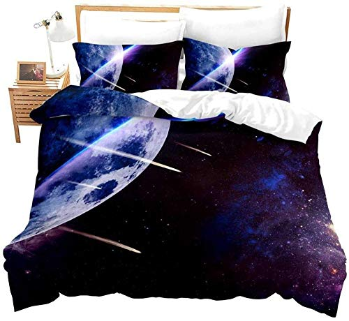RONGXIE Duvet Cover Single - Washed Microfiber Bed Cover With Zipper Closure & Corner Ties, Breathable Soft Hypoallergenic 3 Piece Duvet Covers Set- Beautiful Purple Space Planet Landscape - Super K