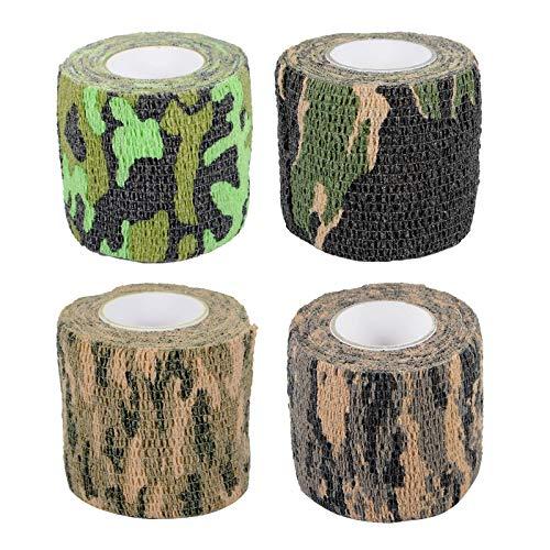 YancLife Camo Tape Stoff, Elastische Klebebinde Camouflage, Multifunktionales Stealth Selbsthaftende Non-Woven Schutz Stretch Verband Rolle für Jagd Camping Reiten Radfahren (4 Rollen)