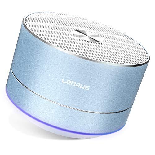LENRUE Bluetooth Lautsprecher, Tragbare Mini Speaker mit LED Licht, Verbessert Bass, Mikrofon, 5 Stunde Spielzeit, Kabellos Lautsprecher für iPhone, iPad, Huawei, PC, Laptop, Tablets, Heim (Blau)