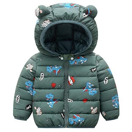 Bebé Invierno Chaqueta Niños Oreja Capucha Abrigo Acolchado CáLido Ligero Niñas Trajes Verde 3-4 Años