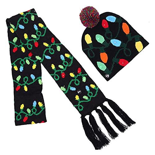 Soapow Gorro de Navidad Sombrero Bufanda Conjunto de Sombrero de Punto con Luces LED Sombrero de Gorro de Navidad para Todos