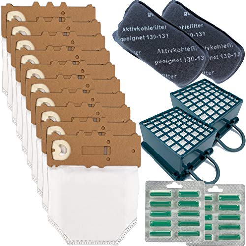 10 Sacchetti Ricambi per Vorwerk Folletto VK130 VK131 20 Profumini 2 Filtri Hepa + 2 Filtri ODORI (sacchetti+filtri+profumini)