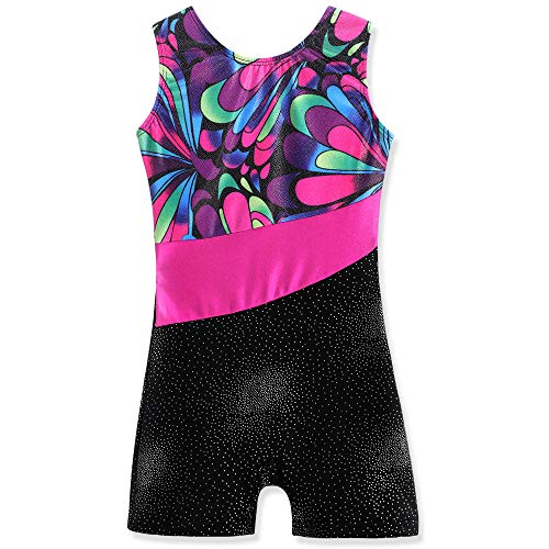 Leotards Black for Girls Gymnastics with Shorts Size 4 5 Sparkle Butterfly Flowers Pattern Sleeveless Biketards Hotpink Black (Hotpink, 110(4-5 years old))