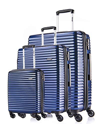Verage Vortex 4-Doppel-Rollen Kofferset 3 teilig, TSA Schloss, Reisekoffer erweiterbar, große Koffer mit Handgepäck S-55cm / M-65cm /L-75cm, Blau