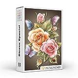Diamond Painting Strass Special XL Butterfly Rosas, 50 x 75 cm, piedras redondas...