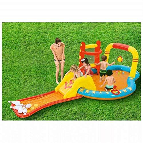 BBZZ Piscina inflable para niños, piscina de atracciones de bolos, piscina de entretenimiento, jardín familiar, piscina de remo de PVC inflable y duradera, rociadores de fiesta al aire libre portátil