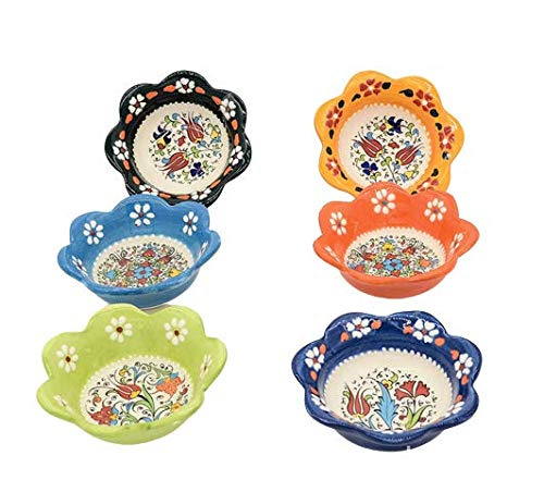 Handcrafted Ceramic Bowls Set of 6 - Candy & Nut Dish - Multicolor Small Serving Bowls - Best Gift - Boxed
