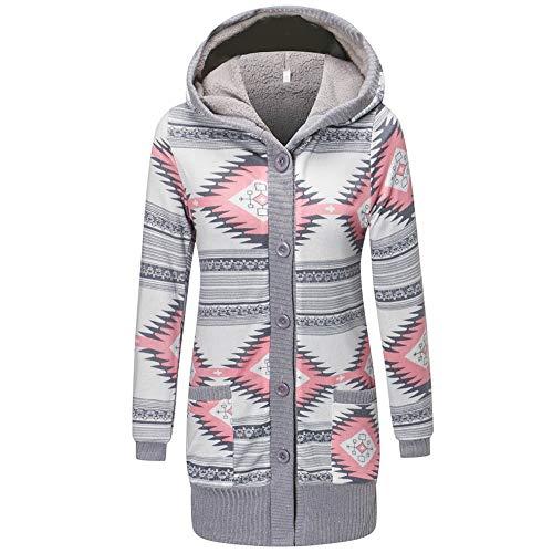 Wolljacke,Transwen Herbst Winter Damenmode Taschen Knopf Casual Long Sleeve Caps Losen Mantel beiläufige Mantel Lange Freizeit Jacke Windbreaker (XL, Rosa)