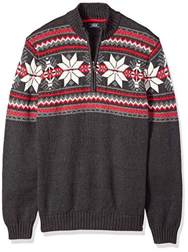 IZOD Men's Big Fairisle Quarter Zip 5 Gauge Sweater, Black Heather, 3X-Large Tall