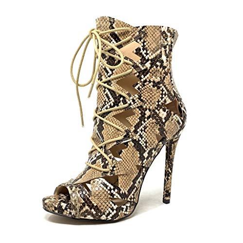 Angkorly - Damen Schuhe Stiefeletten Pumpe - Stiletto - Offen - Sexy - Python-Schlangenprint - Perforiert Stiletto high Heel 12 cm - Beige CB66 T 37