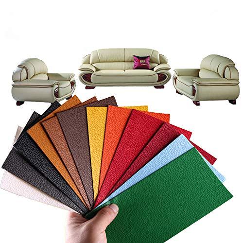 Alumuk 13 Stück Lederreparatur Kunstleder Flicken Selbstklebend Patch Reparaturflicken für Leder Sofa Möbel Autositze und Taschen 10x20cm, 13 Farben (Litschi Leder PU)