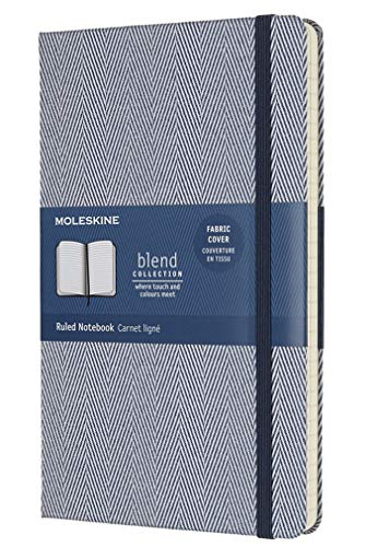 Moleskine Notizbuch Blend Kollektion (Liniertes Notizbuch mit Stoff Hardcover und elastischem Verschluss, Großformat 13 x 21 cm) 240 Seiten, blau