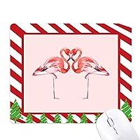フラミンゴカップルの恋人 ゴムクリスマスキャンディマウスパッド