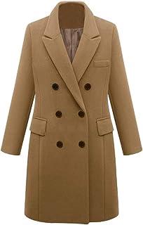 Muranba◕ᴗ◕ Womens Coat Outwear Outerwears Womens Winter Lapel Double-Breasted SlimLong Trench Coat Overcoat Khaki