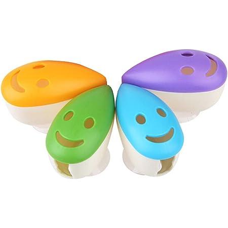 ROSENICE Faccia sorridente Tazza di aspirazione antibatterica dei denti spazzolini per viaggio 4 pezzi