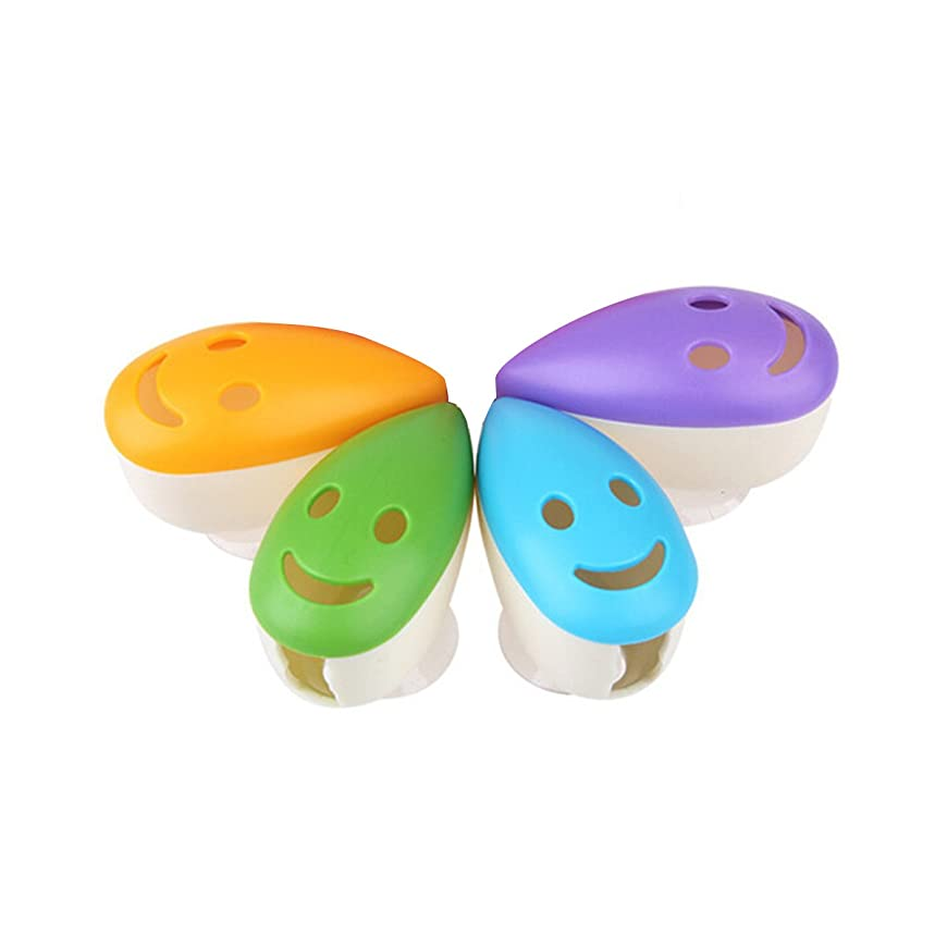 不愉快バラバラにする最少ROSENICE スマイルフェイス抗菌歯ブラシヘッドホルダーサクションカップ4本用