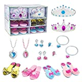 FYD Princess Shoes Tiara Dress up Set Include 4 Princess Shoes and Jewelry Accessories Set with Tiaras Necklaces Bracelets Earrings Toy Role Play Set Gift for Girls Age 3-10