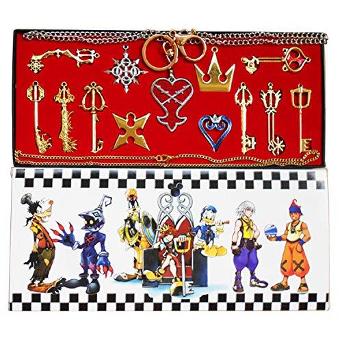 I3C Kingdom Hearts - Conjunto de llavero y collar con colgante de arsenal Color oro (13unidades)