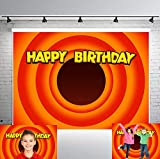 PHMOJEN 7x5ft Carrot Circle Backdrop for Children Looney Tunes Birthday Party Banner Photo Studio Background Props LYPH1321