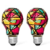 2 Pack LED Stained Glass Light Bulb A19 2W (25W Equivalent) E26 Base Painted Light Bulb Night Light Mosaic Light Bulb Party Light Bulb Stainglass Light Bulb - Tiffany Light Bulbs Atained Glass