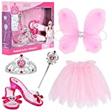 Little Girls Princess Fairy Costume Set Trunk with Wings Shoes Tiara Wand and Tutu for Kids Dress Up Party (Pink)