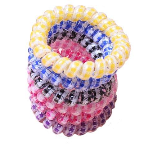 Utsunomiya® Grand Kit de 6 élastiques avec ceinture à carreaux, motif à carreaux, Top Qualité, beau Cheveux Câble téléphonique élastique à cheveux spirale en plastique, Téléphone, cheveux en caoutchouc cheveux, bijoux bracelet