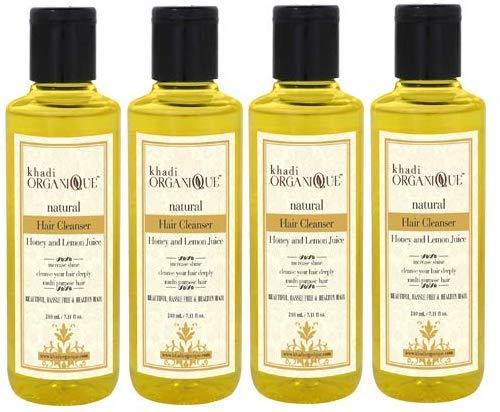 Glamorous Hub Khadi Organique Limpiador de cabello con miel y jugo de limón (champú), paquete de 4 (el paquete puede variar)
