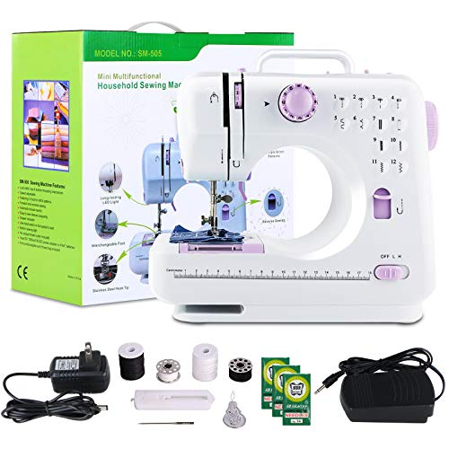 Sewing Machine ,ACOOLOO Portable Mini Automatic Sewing Machine,Electric Professional Crafting Mending Tool - LED 12 Stitches 2 Speed with Foot Pedal for Household gift