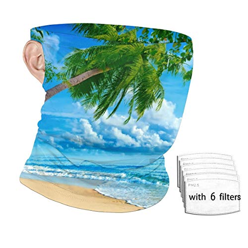Beautiful Beach Men Balaclava, Tactical Mask, Women Sun Hood, Neck Gaiter Dust UV Protection with Filters
