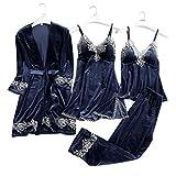 JULY'S SONG Pijama para Mujer 4 Piezas Conjunto de Pijamas Ropa de Casa Dormir Encaje Pijamas Mujer Cómodo y Suave Camisones Ropa Elegante Mujer