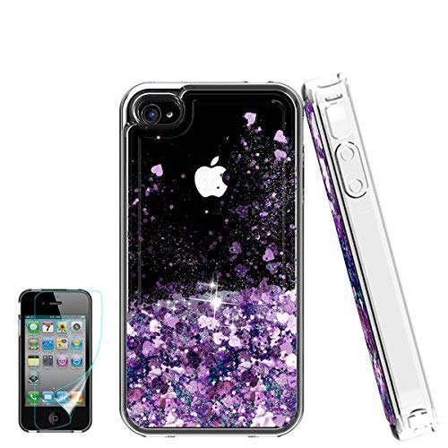 iPhone 4 Case,Apple iPhone 4 4S Case, Atump Glitter Flowing Liquid Floating Protective Shockproof Clear TPU Girls Cover Case for Apple iPhone 4/4S Purple