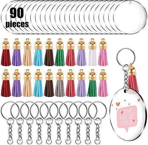 Xzbnwuviei Acryl-Schlüsselanhänger-Kombinationsset, 90 Stück, Acryl-Scheiben, rund, Acryl-Schlüsselanhänger, leere Quaste, Anhänger, Sprungringe für Heimwerker