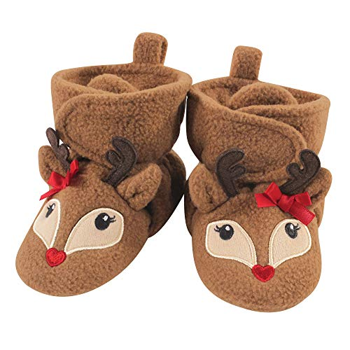 Hudson Baby Unisex Cozy Fleece Booties, Girl Reindeer, 6-12 Months
