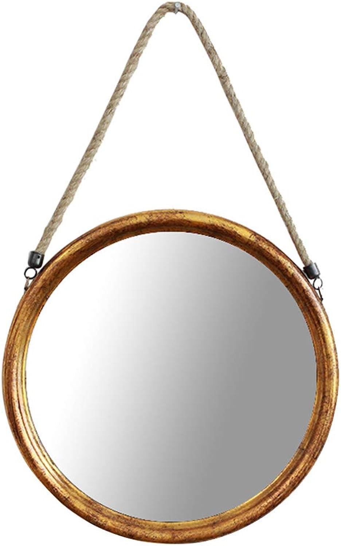 Wall Mirror Hanging for Bedroom Bathroom, Vintage Round Vanity Mirror Dressing Room Make-up Toiletries Mirror, 13″ Medium