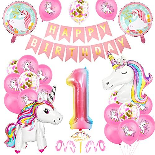 Unicornio Fiesta Decoración, Cumpleaños Globos 1, Decoración de cumpleaños 1 en Unicornio, Feliz cumpleaños Decoración Globos 1 Años, Unicornio de cumpleaños Ducha Bodas Festival Decoración