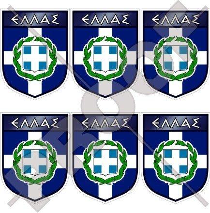 Grèce Grec Hellénique Shield Hellas 40 mm (40,6 cm) Téléphone Mobile Mini en vinyle autocollants, Stickers x6