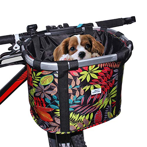 Next-Station Collapsible Bike Basket, Pet Bicycle Handlebar Carrier for Small Dog Cat, Easy Install and Quick Detachable Multi-Purpose Picnic Shopping Bag (Autumn Leafs)