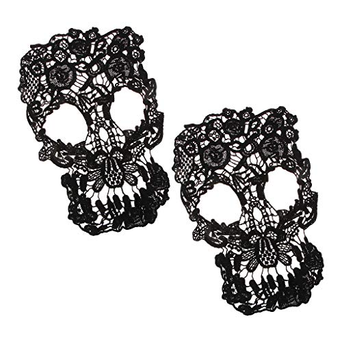 Kloware 2 Black Skull Applique Lace Iron-on Iron on Patches