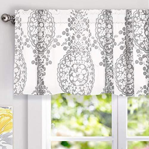 "DriftAway Samantha Window Treatment Valance, Floral/Damask Medallion pattern, Rod Pocket, 52""x18"" (gray)"