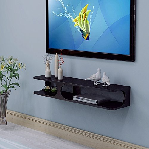 SHOP YJX Consola Flotante Moderna for TV de 2 Capas de 43.3'x9.4 x7 para Reproductor de DVD/Caja de Cable/enrutador/Control Remoto/Consola de Juegos (Blanco/Negro) (Color : Black)