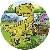 Dekora - Disco Comestible para Decoración de Tartas de Cumpleaños de Dinosaurio - 16 cm