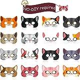 16 Stücke Kitty Katze Thema Geburtstag Party Bedarf, Halloween Katze Masken Kätzchen Masken für...