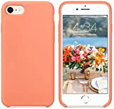 Funda de Silicona Silicone Case para iPhone SE 2020, iPhone 7, iPhone 8, Tacto Sedoso Suave, Carcasa Anti Golpes, Bumper, Forro de Microfibra (Melocotón)