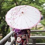 Paraguas Pintado a Mano Accesorio de Baile Parasol Vintage Parasol de Papel engrasado ecológico Parasol de Sala de Estar Tienda para Realizar decoración(Pink Time)