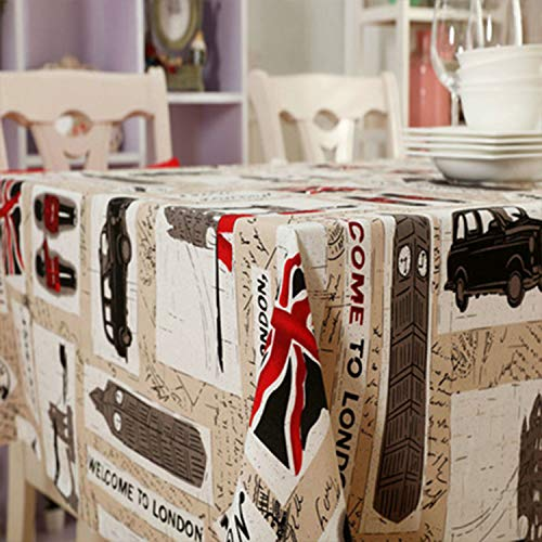 HEIFEN Británico, Estilo Europeo Mantel De 140 * 200 Cm, Poliéster Y Mezcla De Algodón para Mesas De Picnic, Cenas, Celebraciones Y Ocasiones Especiales