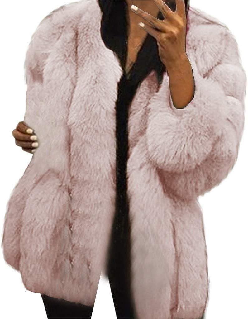 Women's Faux Fur Coat, Kangma Plus Size Warm Furry Long Sleeve Loose Jacket Outerwear